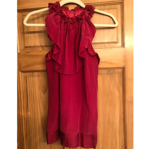 MM Couture Tops - M.M. Couture Ruffled Neck Silk Sleeveless Blouse